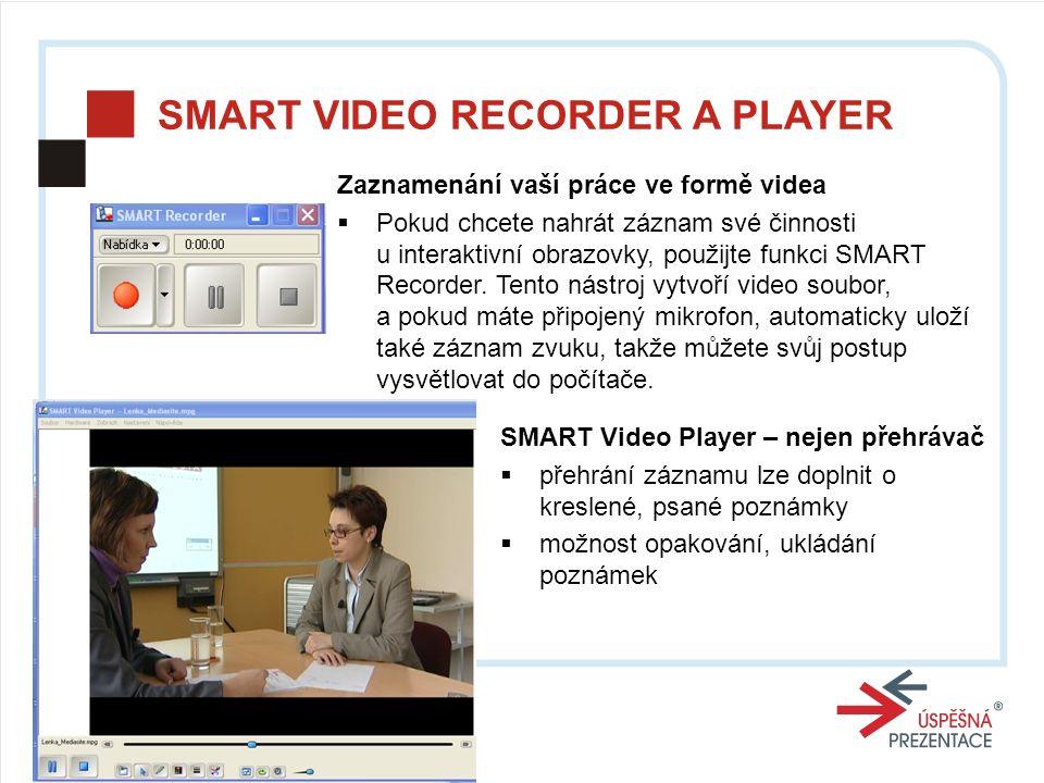SMART VIDEO RECORDER A PLAYER Zaznamenání vaší práce ve formě videa  Pokud chcete nahrát záznam své činnosti u interaktivní obrazovky, použijte funkci SMART Recorder.