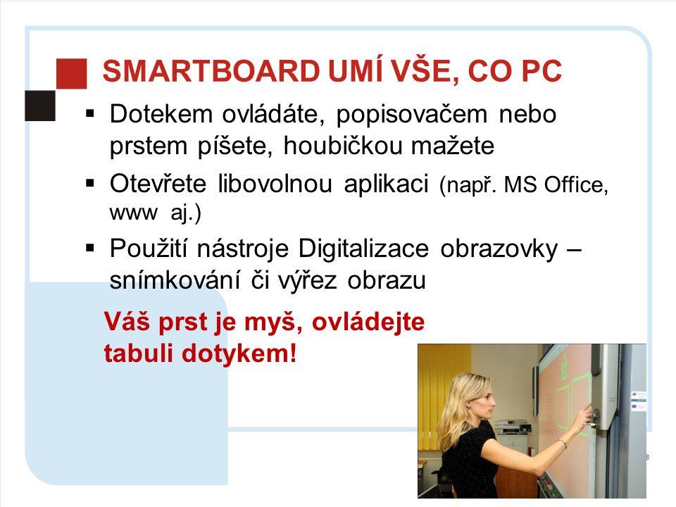 SMARTBOARD UMÍ VŠE, CO PC  Dotekem ovládáte, popisovačem nebo prstem píšete, houbičkou mažete  Otevřete libovolnou aplikaci (např.