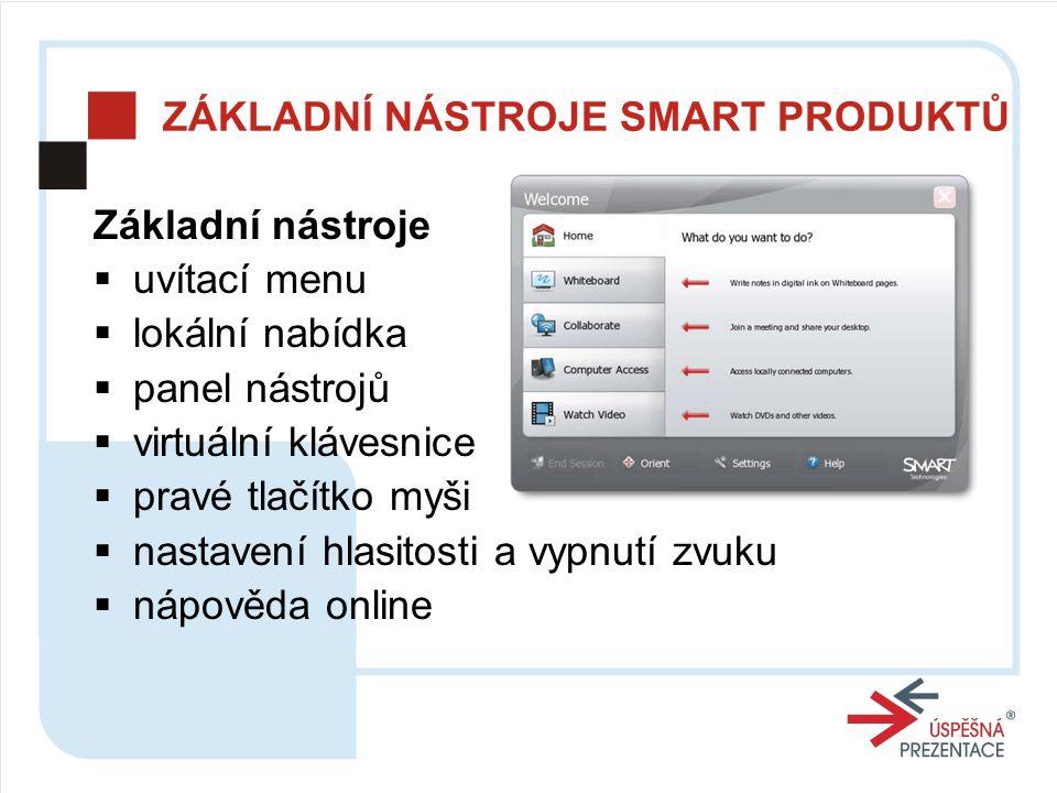 ZÁKLADNÍ NÁSTROJE SMART PRODUKTŮ Základní nástroje  uvítací menu  lokální nabídka  panel nástrojů  virtuální klávesnice  pravé tlačítko myši  nastavení hlasitosti a vypnutí zvuku  nápověda online