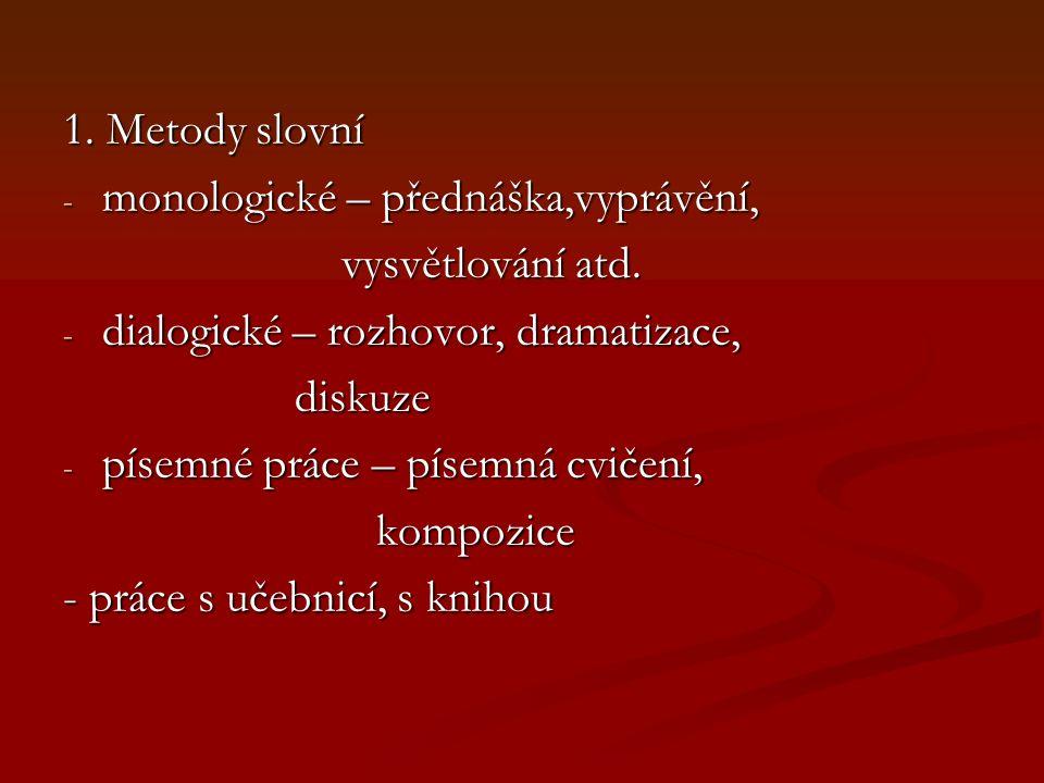1. Metody slovní - monologické – přednáška,vyprávění, vysvětlování atd.