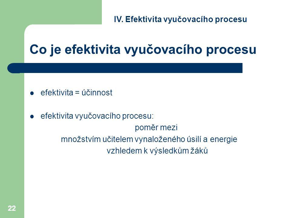 22 Co je efektivita vyučovacího procesu efektivita = účinnost efektivita vyučovacího procesu: poměr mezi množstvím učitelem vynaloženého úsilí a energie vzhledem k výsledkům žáků IV.