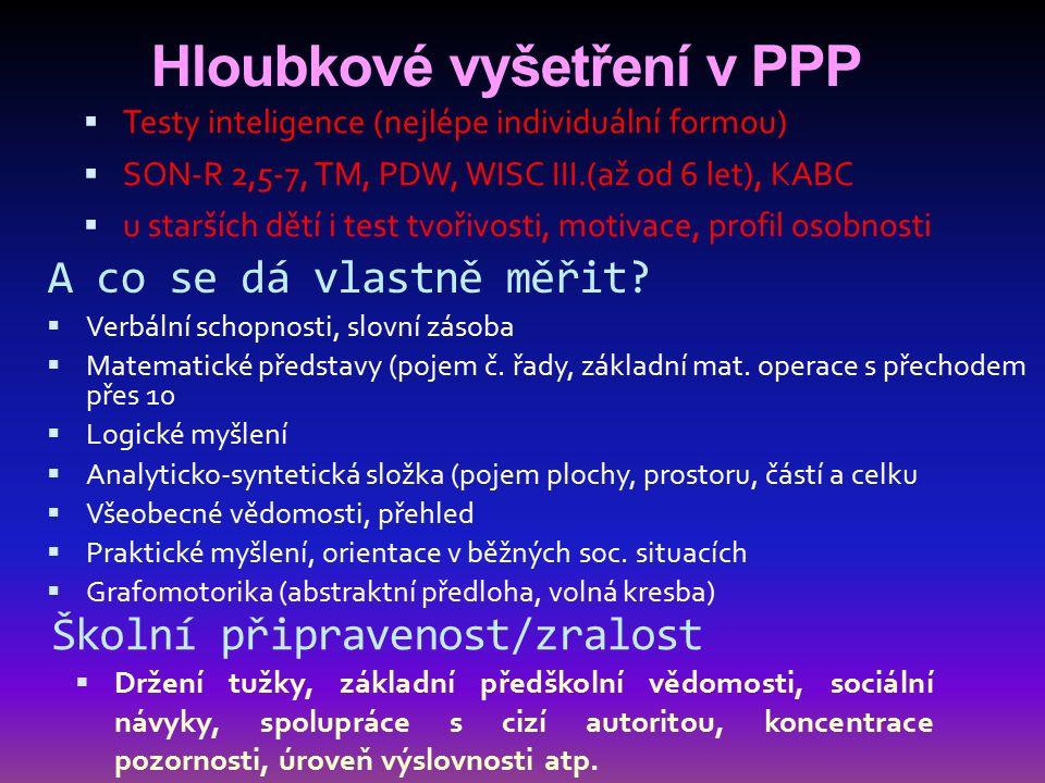 Hloubkové vyšetření v PPP  Testy inteligence (nejlépe individuální formou)  SON-R 2,5-7, TM, PDW, WISC III.(až od 6 let), KABC  u starších dětí i t