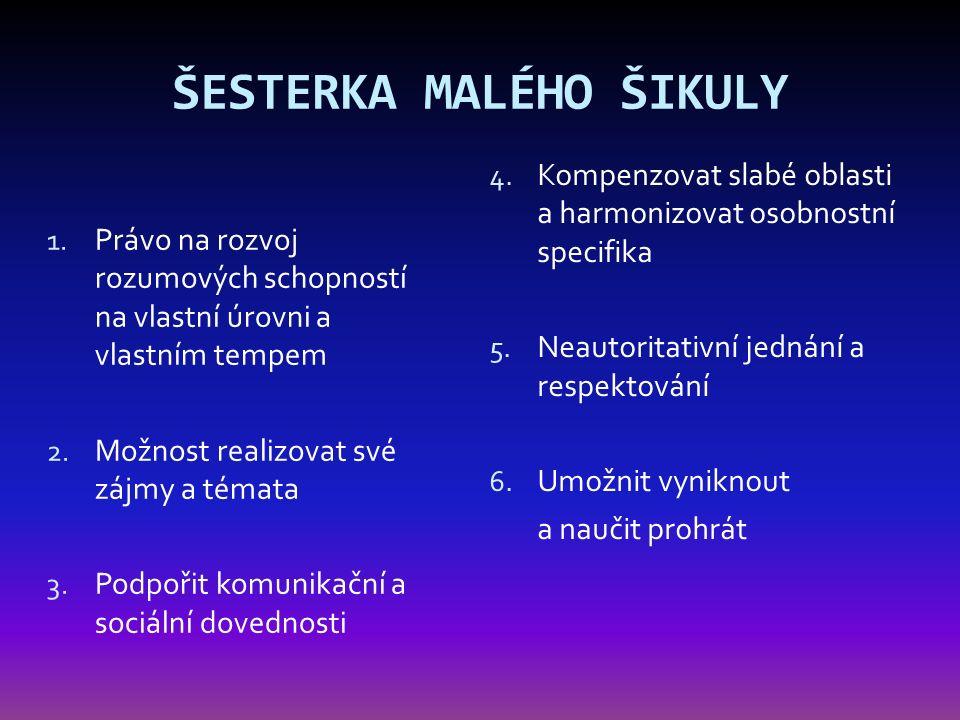 ŠESTERKA MALÉHO ŠIKULY 1. Právo na rozvoj rozumových schopností na vlastní úrovni a vlastním tempem 2. Možnost realizovat své zájmy a témata 3. Podpoř