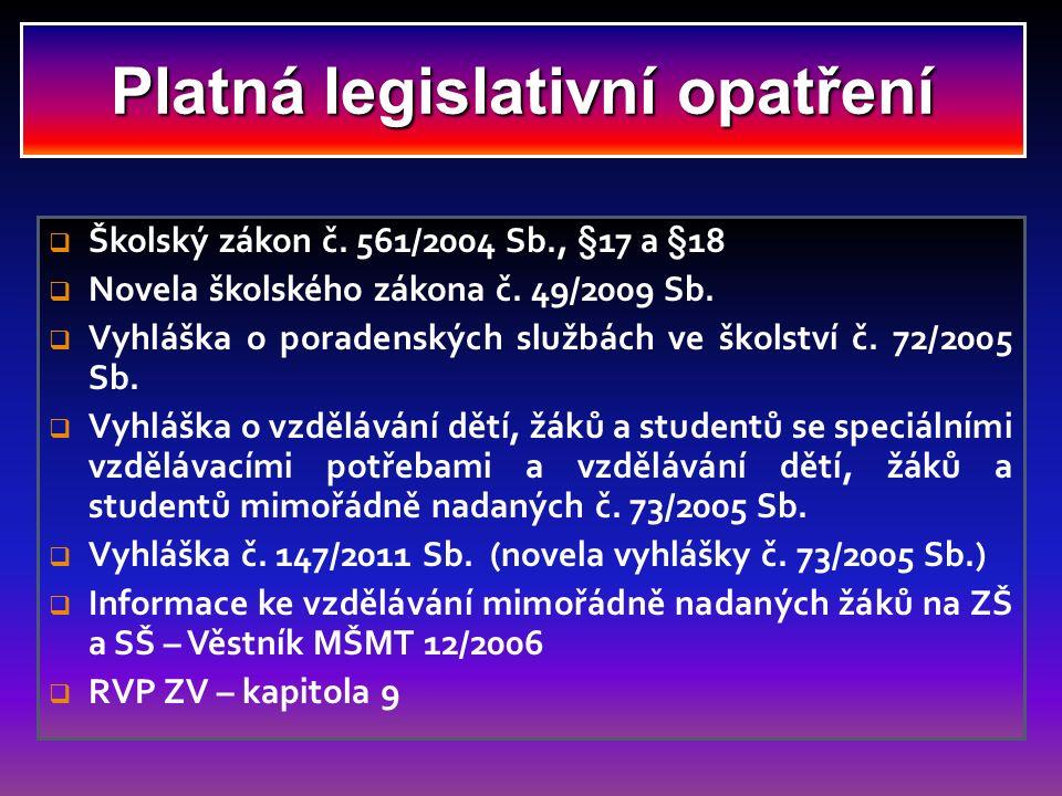 Platná legislativní opatření  Školský zákon č. 561/2004 Sb., §17 a §18  Novela školského zákona č. 49/2009 Sb.  Vyhláška o poradenských službách ve