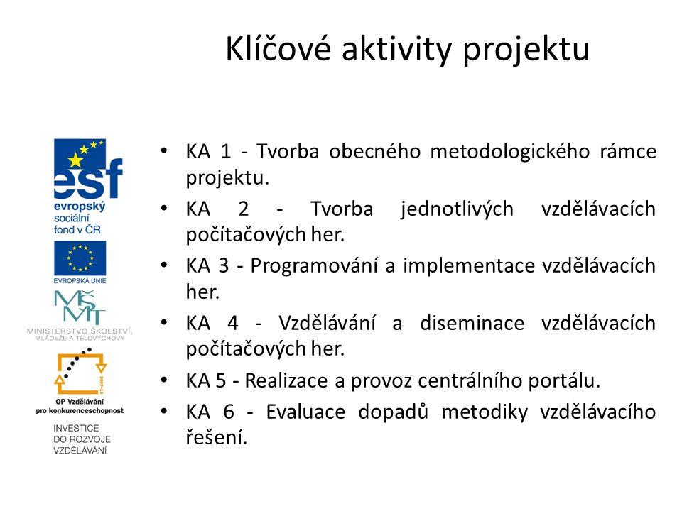 Klíčové aktivity projektu KA 1 - Tvorba obecného metodologického rámce projektu. KA 2 - Tvorba jednotlivých vzdělávacích počítačových her. KA 3 - Prog