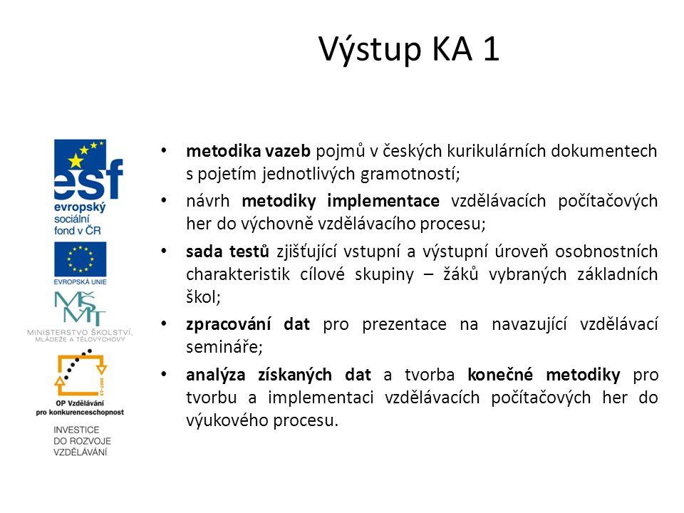 Výstup KA 1 metodika vazeb pojmů v českých kurikulárních dokumentech s pojetím jednotlivých gramotností; návrh metodiky implementace vzdělávacích počítačových her do výchovně vzdělávacího procesu; sada testů zjišťující vstupní a výstupní úroveň osobnostních charakteristik cílové skupiny – žáků vybraných základních škol; zpracování dat pro prezentace na navazující vzdělávací semináře; analýza získaných dat a tvorba konečné metodiky pro tvorbu a implementaci vzdělávacích počítačových her do výukového procesu.