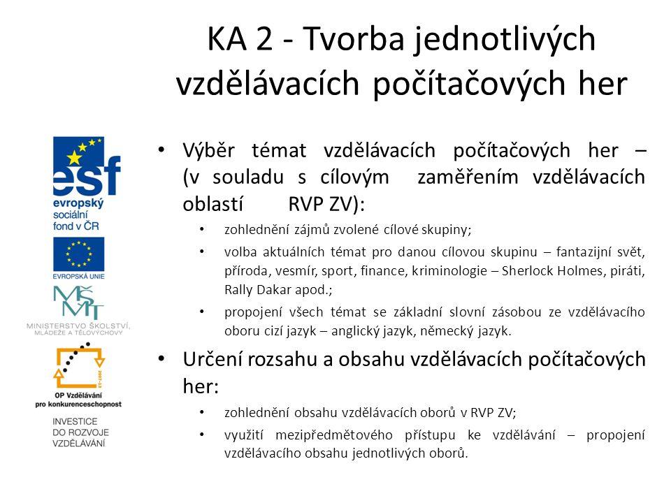 KA 2 - Tvorba jednotlivých vzdělávacích počítačových her Výběr témat vzdělávacích počítačových her – (v souladu s cílovým zaměřením vzdělávacích oblas