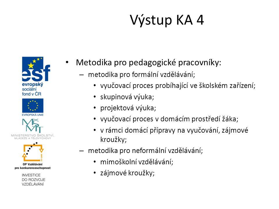 Výstup KA 4 Metodika pro pedagogické pracovníky: – metodika pro formální vzdělávání; vyučovací proces probíhající ve školském zařízení; skupinová výuk
