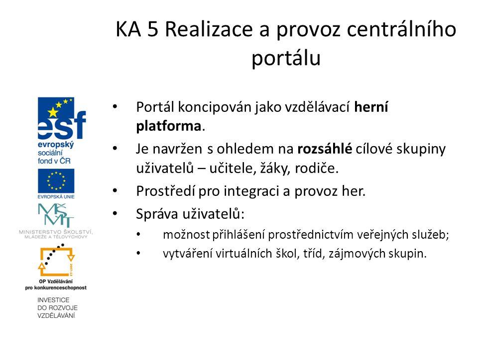KA 5 Realizace a provoz centrálního portálu Portál koncipován jako vzdělávací herní platforma. Je navržen s ohledem na rozsáhlé cílové skupiny uživate