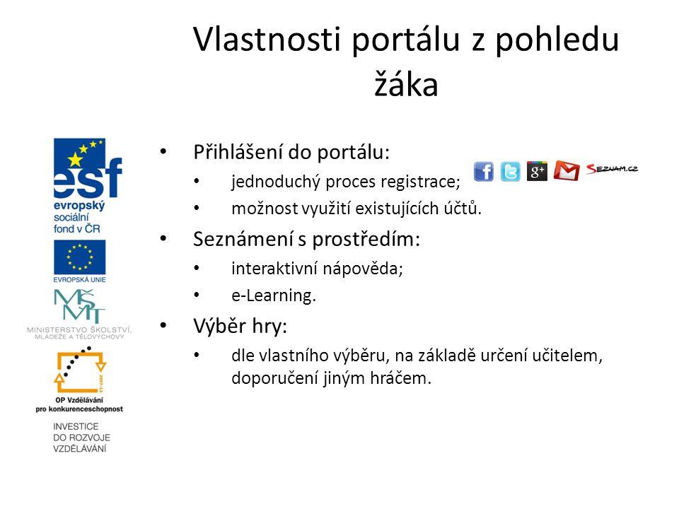 Přihlášení do portálu: jednoduchý proces registrace; možnost využití existujících účtů. Seznámení s prostředím: interaktivní nápověda; e-Learning. Výb
