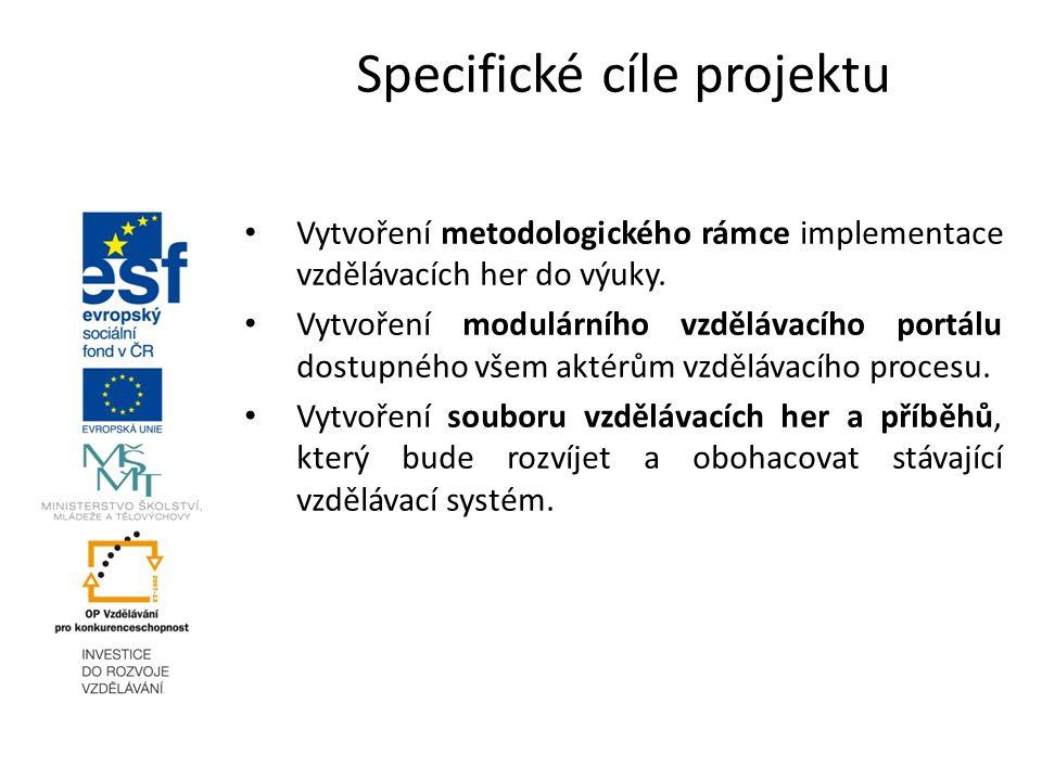 Vytvoření metodologického rámce implementace vzdělávacích her do výuky. Vytvoření modulárního vzdělávacího portálu dostupného všem aktérům vzdělávacíh