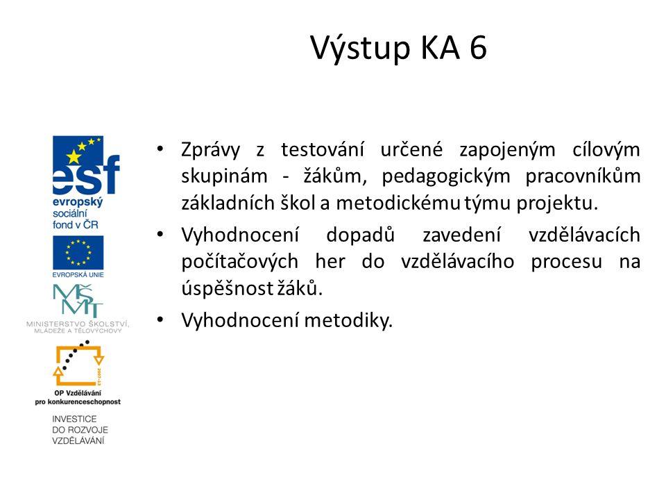 Výstup KA 6 Zprávy z testování určené zapojeným cílovým skupinám - žákům, pedagogickým pracovníkům základních škol a metodickému týmu projektu.