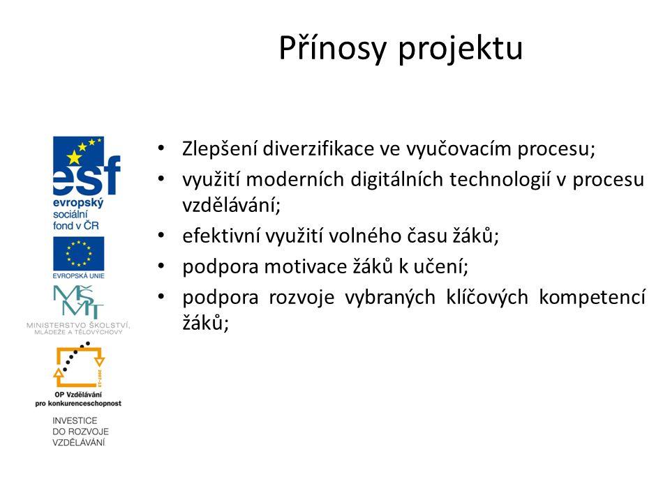 Zlepšení diverzifikace ve vyučovacím procesu; využití moderních digitálních technologií v procesu vzdělávání; efektivní využití volného času žáků; pod
