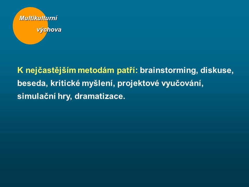 Multikulturní výchova výchova K nejčastějším metodám patří: brainstorming, diskuse, beseda, kritické myšlení, projektové vyučování, simulační hry, dra