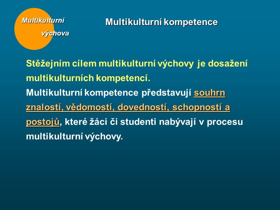 Multikulturní výchova výchova Multikulturní kompetence Stěžejním cílem multikulturní výchovy je dosažení multikulturních kompetencí. souhrn znalostí,