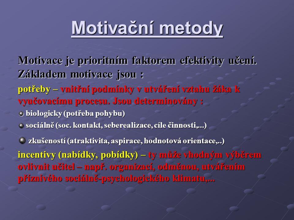 Motivační metody Motivace je prioritním faktorem efektivity učení.
