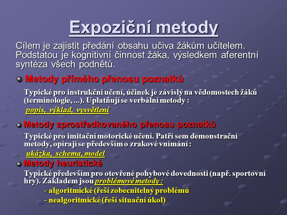 Expoziční metody Cílem je zajistit předání obsahu učiva žákům učitelem.