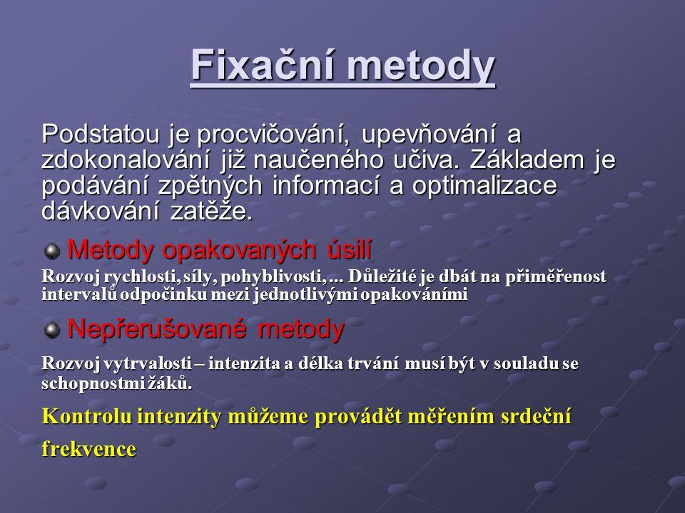 Fixační metody Podstatou je procvičování, upevňování a zdokonalování již naučeného učiva.