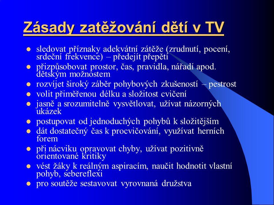 Zásady zatěžování dětí v TV sledovat příznaky adekvátní zátěže (zrudnutí, pocení, srdeční frekvence) – předejít přepětí přizpůsobovat prostor, čas, pravidla, nářadí apod.