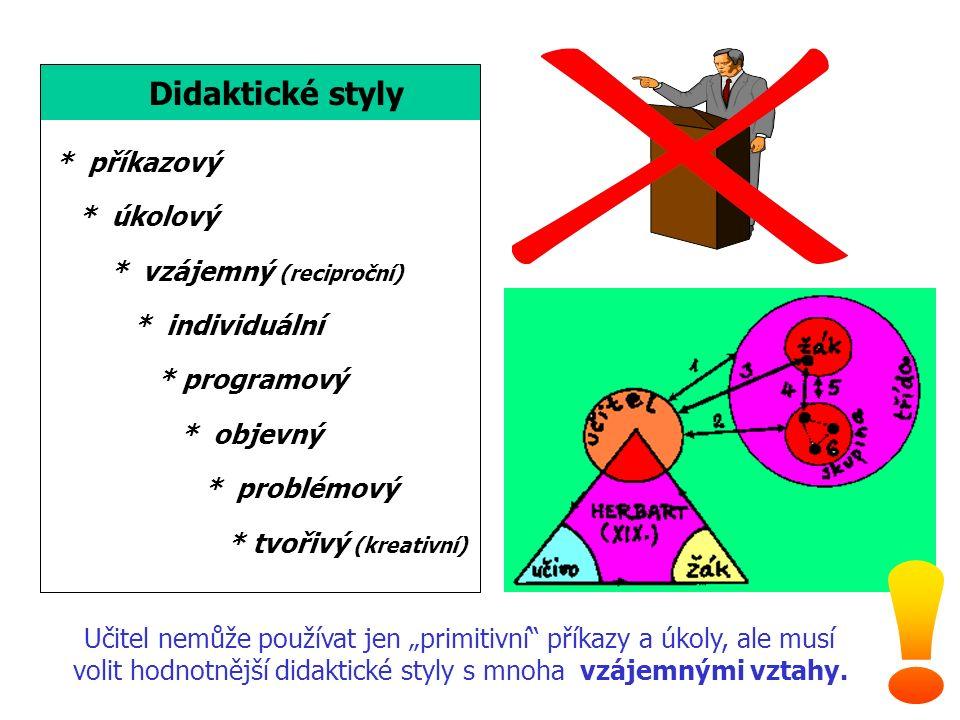 """Didaktické styly * příkazový * úkolový * vzájemný (reciproční) * individuální * programový * objevný * problémový * tvořivý (kreativní) Učitel nemůže používat jen """"primitivní příkazy a úkoly, ale musí volit hodnotnější didaktické styly s mnoha vzájemnými vztahy."""