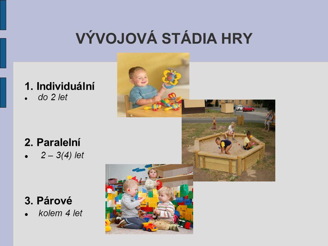 VÝVOJOVÁ STÁDIA HRY 1. Individuální do 2 let 2. Paralelní 2 – 3(4) let 3. Párové kolem 4 let