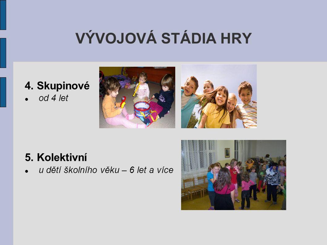 VÝVOJOVÁ STÁDIA HRY 4. Skupinové od 4 let 5. Kolektivní u dětí školního věku – 6 let a více
