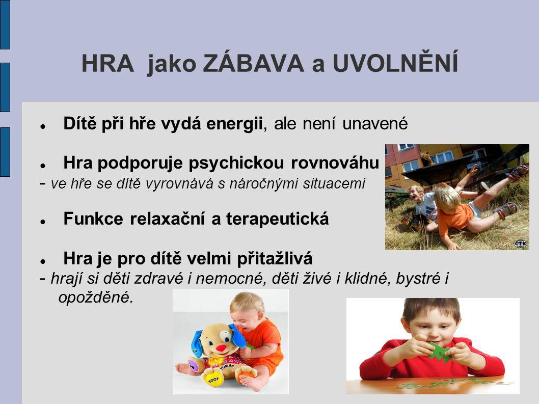 HRA jako ZÁBAVA a UVOLNĚNÍ Dítě při hře vydá energii, ale není unavené Hra podporuje psychickou rovnováhu - ve hře se dítě vyrovnává s náročnými situacemi Funkce relaxační a terapeutická Hra je pro dítě velmi přitažlivá - hrají si děti zdravé i nemocné, děti živé i klidné, bystré i opožděné.