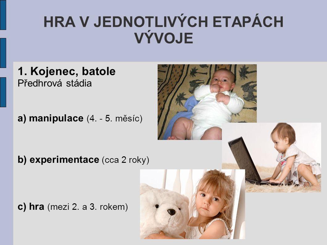 HRA V JEDNOTLIVÝCH ETAPÁCH VÝVOJE 1. Kojenec, batole Předhrová stádia a) manipulace (4. - 5. měsíc) b) experimentace (cca 2 roky) c) hra (mezi 2. a 3.