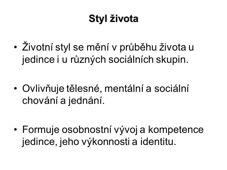 Styl života Životní styl se mění v průběhu života u jedince i u různých sociálních skupin.