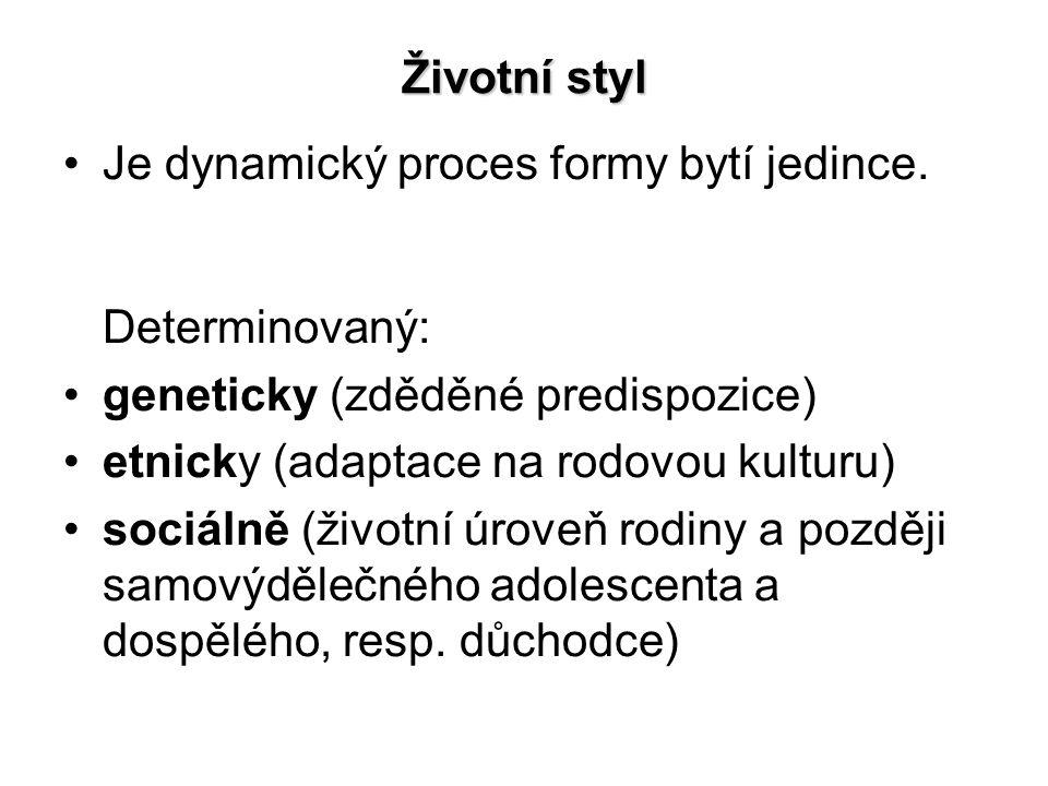 Životní styl Je dynamický proces formy bytí jedince.