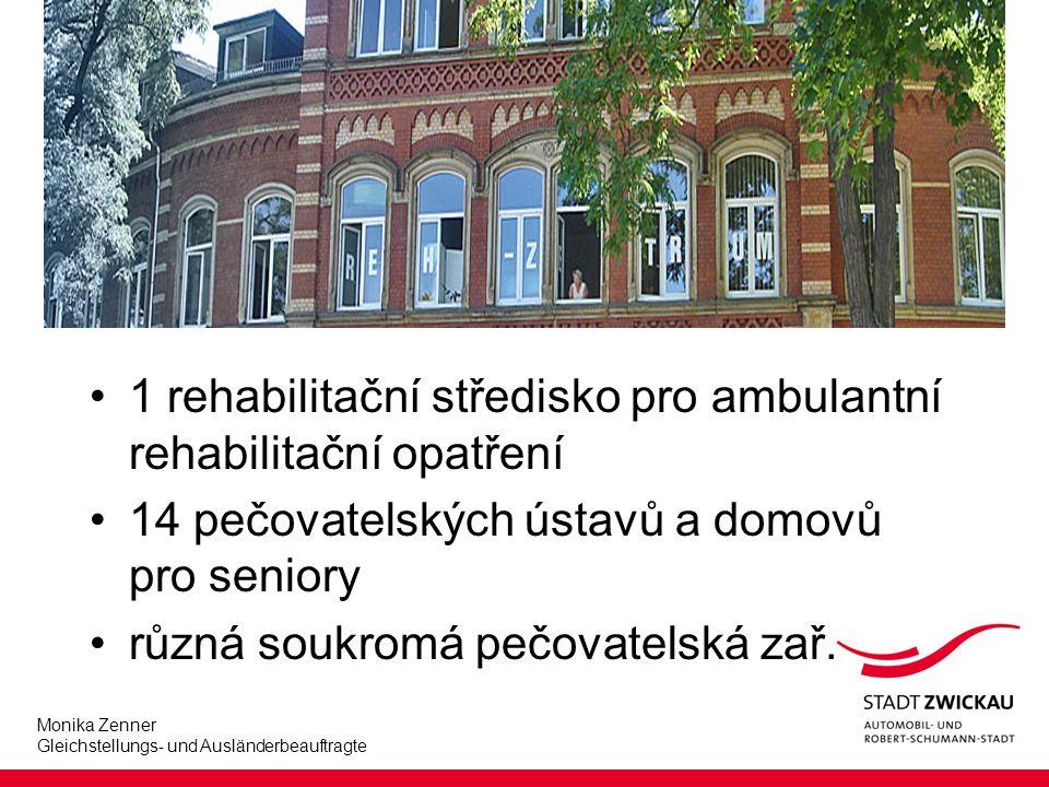 Monika Zenner Gleichstellungs- und Ausländerbeauftragte 1 rehabilitační středisko pro ambulantní rehabilitační opatření 14 pečovatelských ústavů a domovů pro seniory různá soukromá pečovatelská zař.