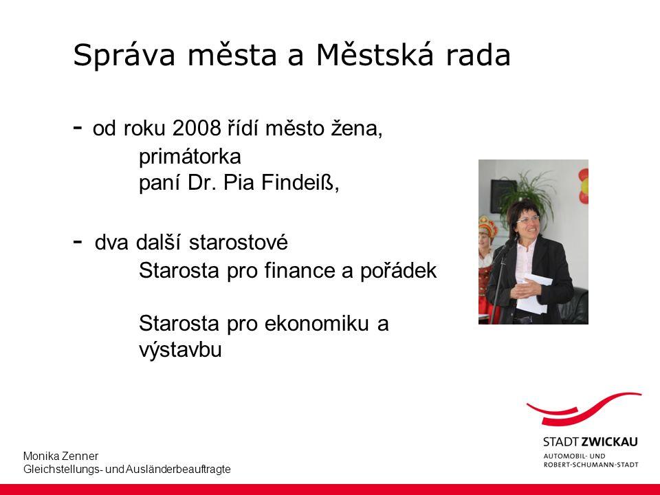 Monika Zenner Gleichstellungs- und Ausländerbeauftragte Správa města a Městská rada - od roku 2008 řídí město žena, primátorka paní Dr.