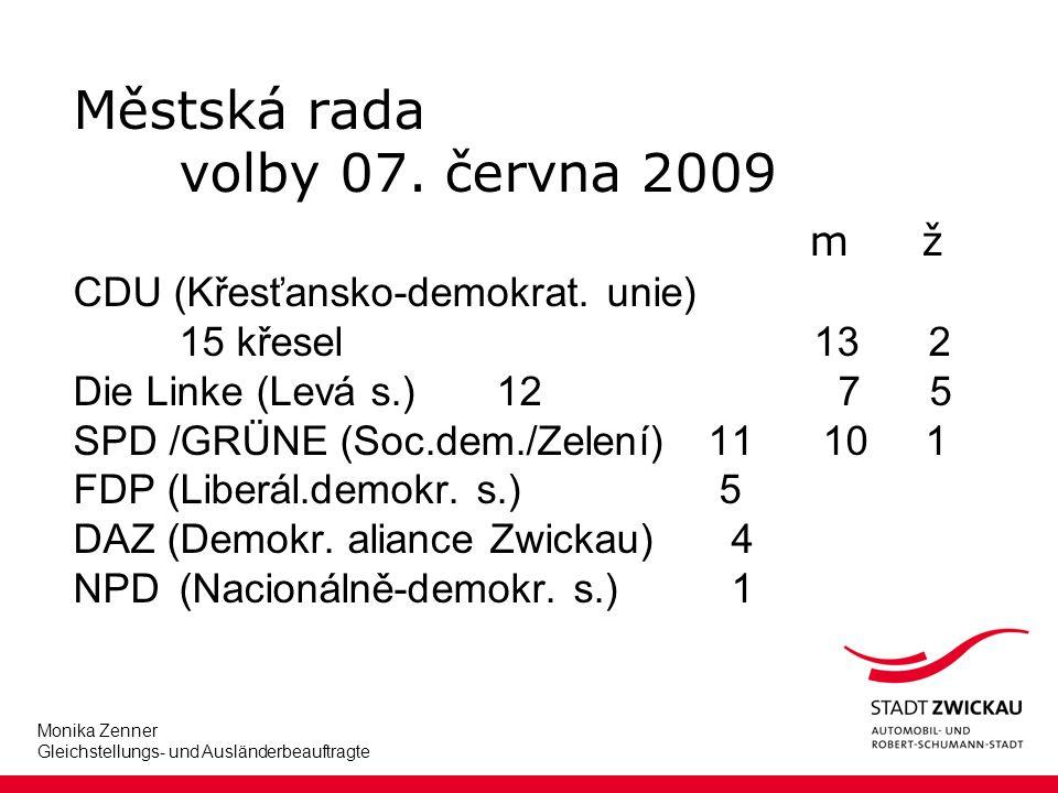 Monika Zenner Gleichstellungs- und Ausländerbeauftragte Městská rada volby 07.