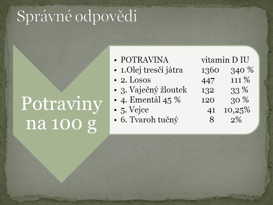 Potraviny na 100 g POTRAVINAvitamin D IU 1.Olej tresčí játra1360340 % 2.