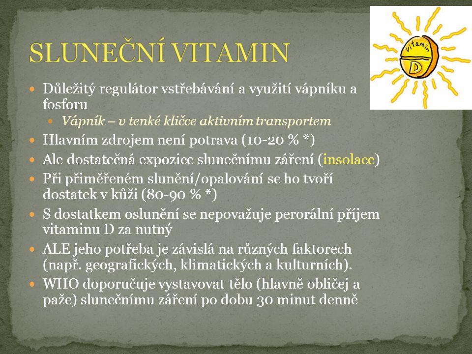 Důležitý regulátor vstřebávání a využití vápníku a fosforu Vápník – v tenké kličce aktivním transportem Hlavním zdrojem není potrava (10-20 % *) Ale dostatečná expozice slunečnímu záření (insolace) Při přiměřeném slunění/opalování se ho tvoří dostatek v kůži (80-90 % *) S dostatkem oslunění se nepovažuje perorální příjem vitaminu D za nutný ALE jeho potřeba je závislá na různých faktorech (např.