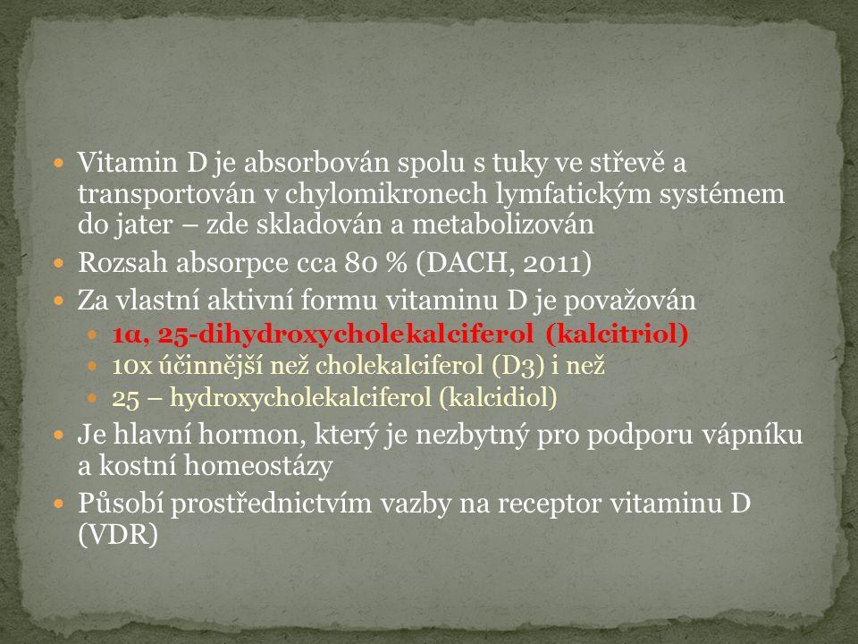 Vitamin D je absorbován spolu s tuky ve střevě a transportován v chylomikronech lymfatickým systémem do jater – zde skladován a metabolizován Rozsah absorpce cca 80 % (DACH, 2011) Za vlastní aktivní formu vitaminu D je považován 1α, 25-dihydroxycholekalciferol (kalcitriol) 10x účinnější než cholekalciferol (D3) i než 25 – hydroxycholekalciferol (kalcidiol) Je hlavní hormon, který je nezbytný pro podporu vápníku a kostní homeostázy Působí prostřednictvím vazby na receptor vitaminu D (VDR)