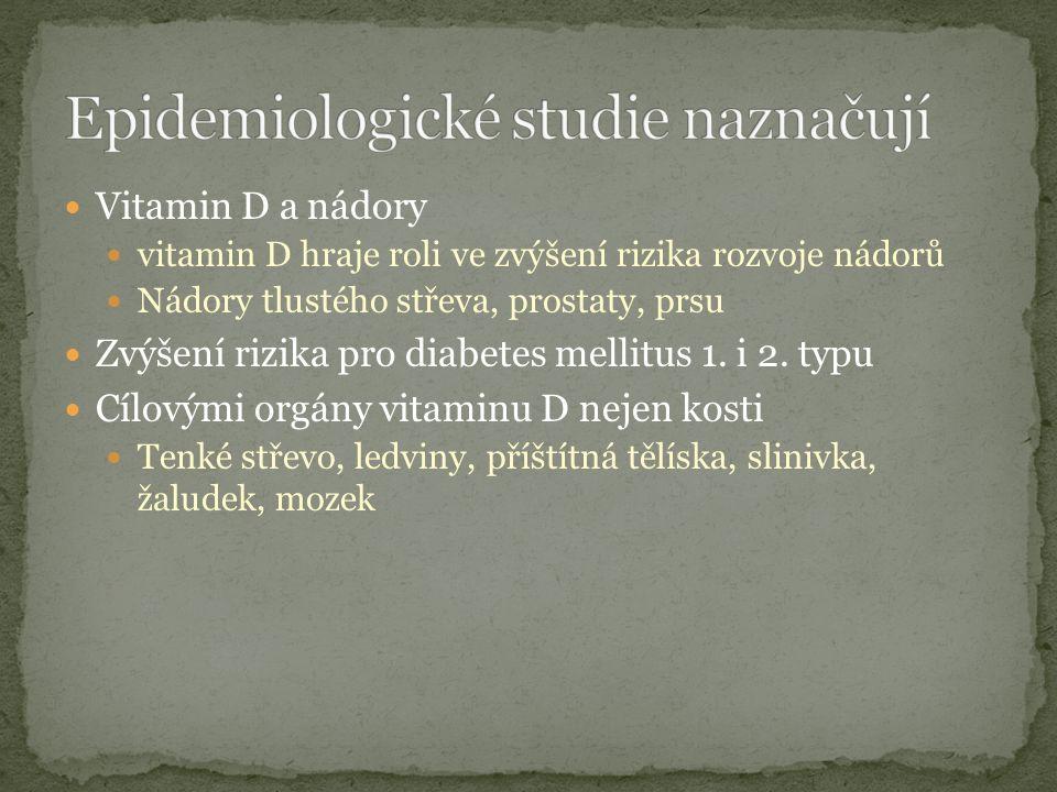 Vitamin D a nádory vitamin D hraje roli ve zvýšení rizika rozvoje nádorů Nádory tlustého střeva, prostaty, prsu Zvýšení rizika pro diabetes mellitus 1.