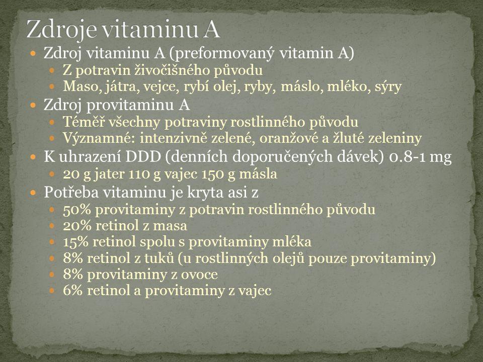 Zdroj vitaminu A (preformovaný vitamin A) Z potravin živočišného původu Maso, játra, vejce, rybí olej, ryby, máslo, mléko, sýry Zdroj provitaminu A Téměř všechny potraviny rostlinného původu Významné: intenzivně zelené, oranžové a žluté zeleniny K uhrazení DDD (denních doporučených dávek) 0.8-1 mg 20 g jater 110 g vajec 150 g másla Potřeba vitaminu je kryta asi z 50% provitaminy z potravin rostlinného původu 20% retinol z masa 15% retinol spolu s provitaminy mléka 8% retinol z tuků (u rostlinných olejů pouze provitaminy) 8% provitaminy z ovoce 6% retinol a provitaminy z vajec