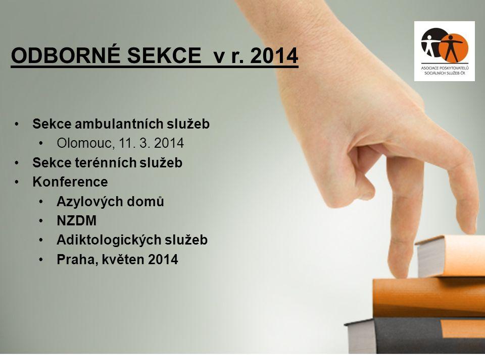Sekce ambulantních služeb Olomouc, 11. 3. 2014 Sekce terénních služeb Konference Azylových domů NZDM Adiktologických služeb Praha, květen 2014 ODBORNÉ