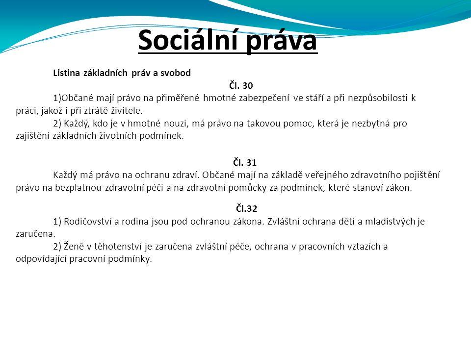 Sociální práva Listina základních práv a svobod Čl.