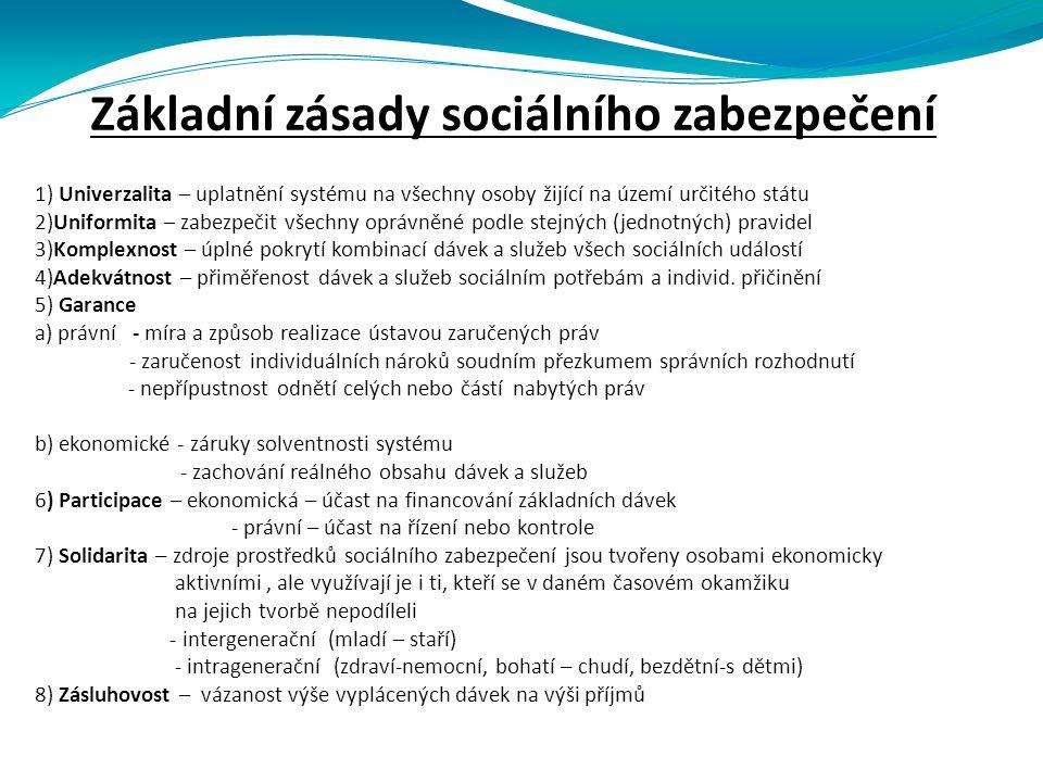 Základní zásady sociálního zabezpečení 1) Univerzalita – uplatnění systému na všechny osoby žijící na území určitého státu 2)Uniformita – zabezpečit všechny oprávněné podle stejných (jednotných) pravidel 3)Komplexnost – úplné pokrytí kombinací dávek a služeb všech sociálních událostí 4)Adekvátnost – přiměřenost dávek a služeb sociálním potřebám a individ.