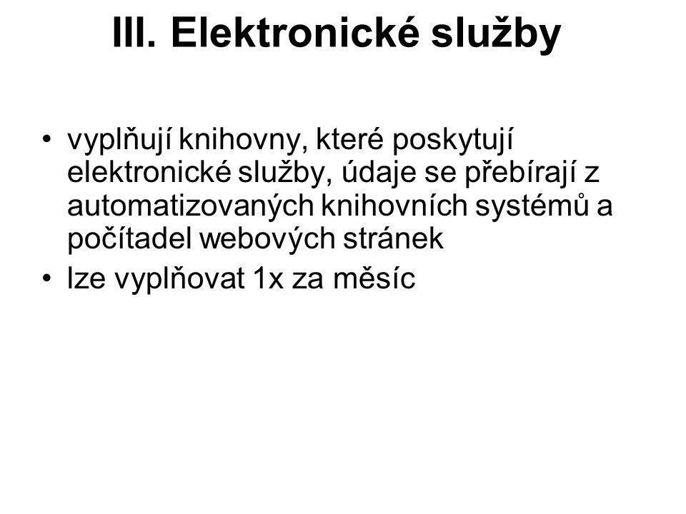 III. Elektronické služby vyplňují knihovny, které poskytují elektronické služby, údaje se přebírají z automatizovaných knihovních systémů a počítadel