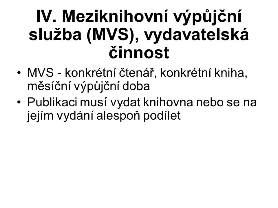 IV. Meziknihovní výpůjční služba (MVS), vydavatelská činnost MVS - konkrétní čtenář, konkrétní kniha, měsíční výpůjční doba Publikaci musí vydat kniho