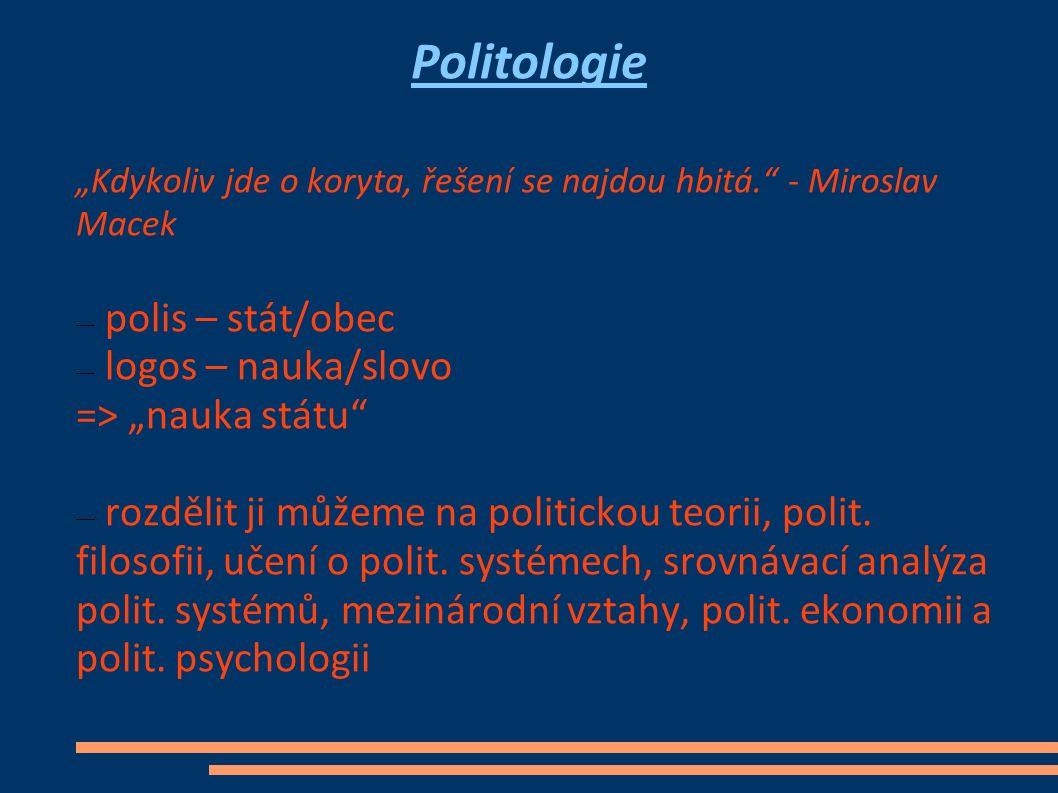 """Politologie """"Kdykoliv jde o koryta, řešení se najdou hbitá."""" - Miroslav Macek ― polis – stát/obec ― logos – nauka/slovo => """"nauka státu"""" ― rozdělit ji"""