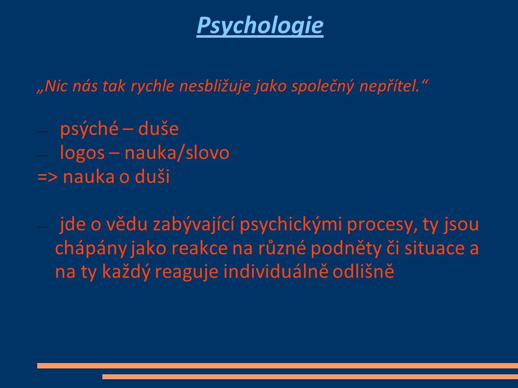 """Psychologie """"Nic nás tak rychle nesbližuje jako společný nepřítel. ― psýché – duše ― logos – nauka/slovo => nauka o duši ― jde o vědu zabývající psychickými procesy, ty jsou chápány jako reakce na různé podněty či situace a na ty každý reaguje individuálně odlišně"""