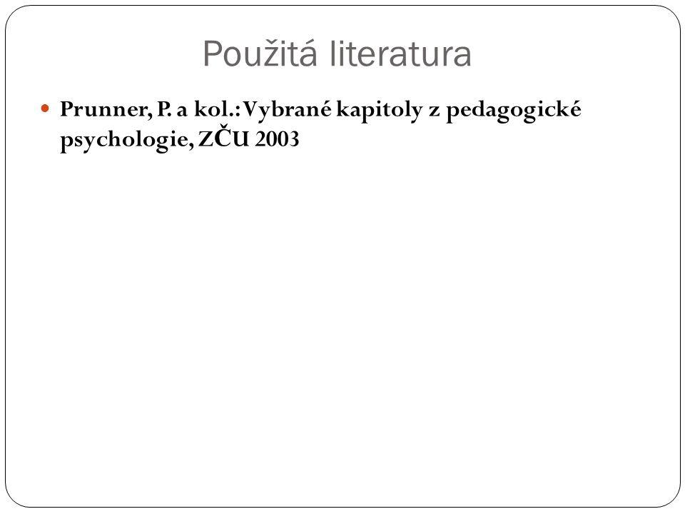 Použitá literatura Prunner, P. a kol.: Vybrané kapitoly z pedagogické psychologie, Z Č U 2003