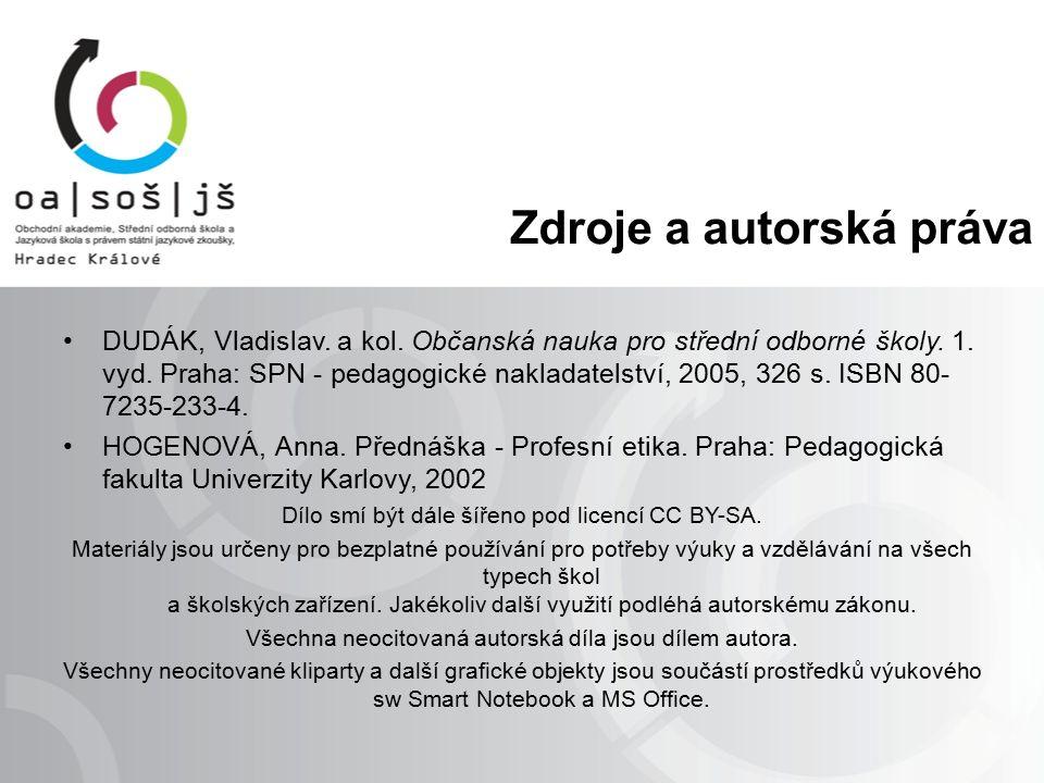 Zdroje a autorská práva DUDÁK, Vladislav. a kol. Občanská nauka pro střední odborné školy.