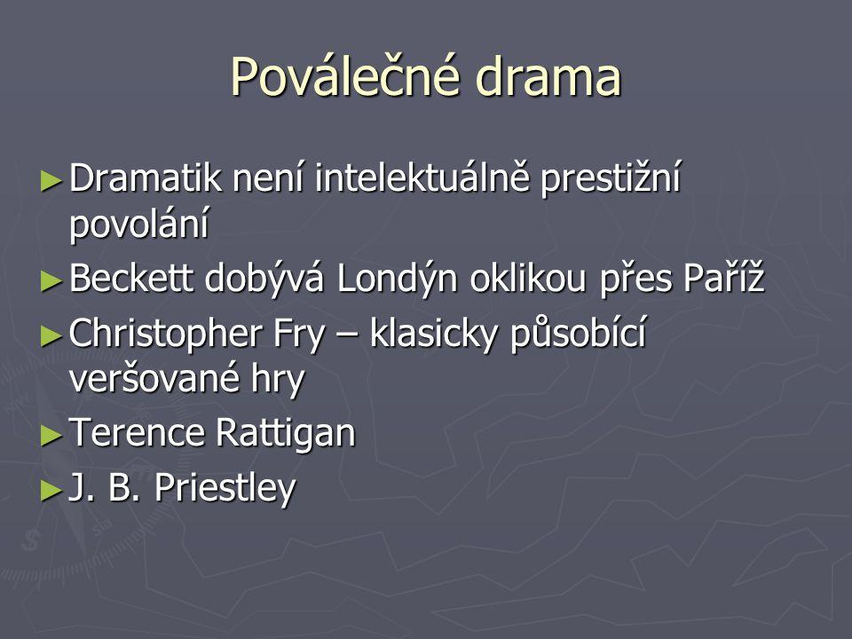 Poválečné drama ► Dramatik není intelektuálně prestižní povolání ► Beckett dobývá Londýn oklikou přes Paříž ► Christopher Fry – klasicky působící verš