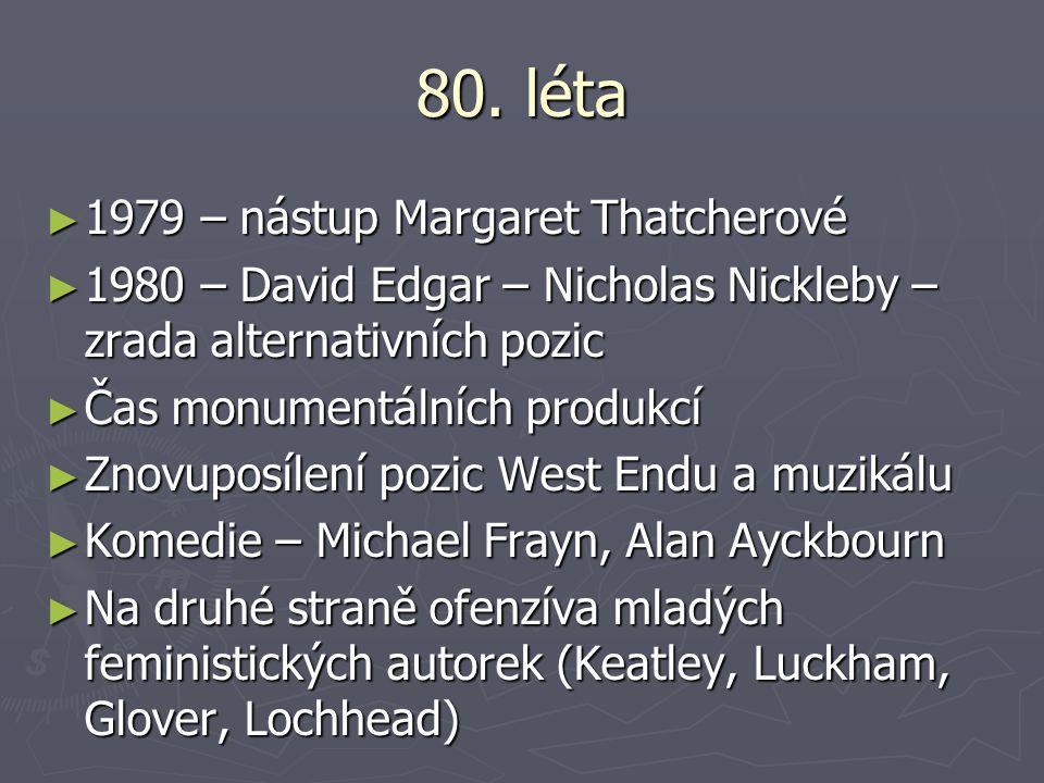 80. léta ► 1979 – nástup Margaret Thatcherové ► 1980 – David Edgar – Nicholas Nickleby – zrada alternativních pozic ► Čas monumentálních produkcí ► Zn