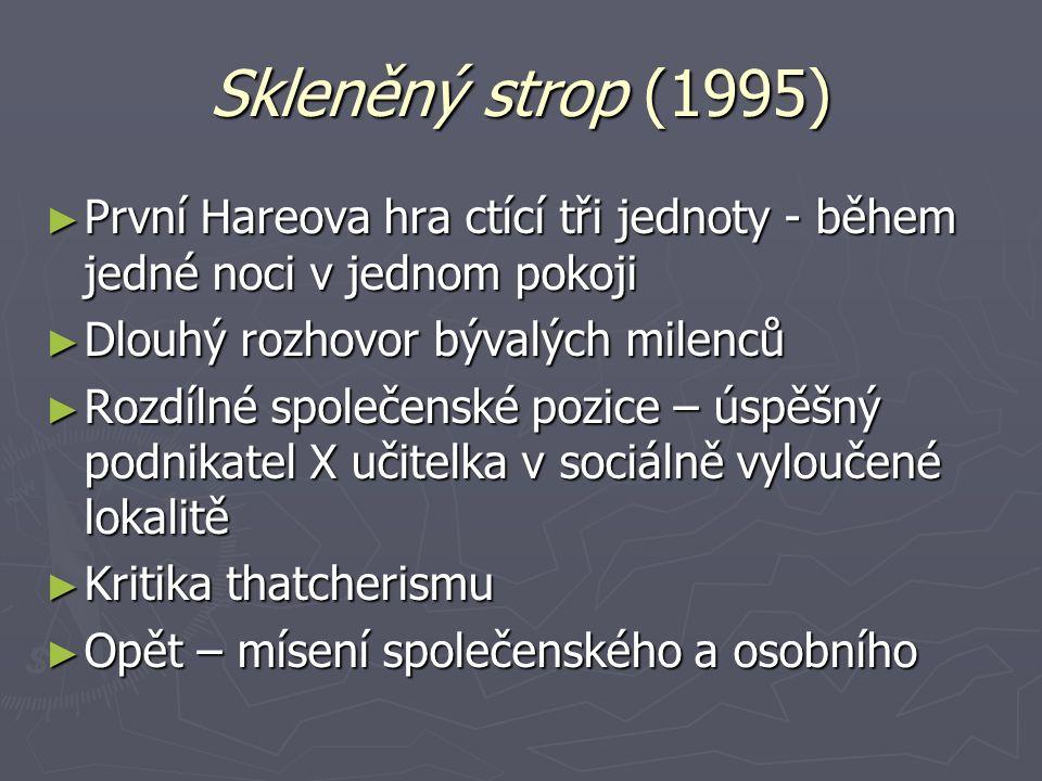 Skleněný strop (1995) ► První Hareova hra ctící tři jednoty - během jedné noci v jednom pokoji ► Dlouhý rozhovor bývalých milenců ► Rozdílné společens
